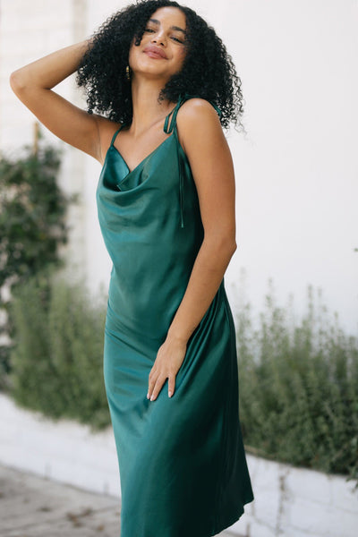 Danielle Satin Cowl Neck Dress Dresses In Loom Emerald Small
