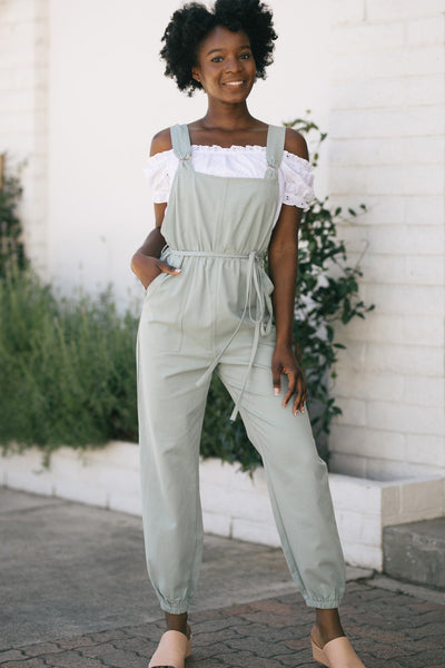 Joleen Wooden Eyelet Overalls Jumpsuits Paper Crane Sage Small