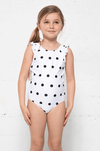 Kids Ruffle Dotted One Piece Swimsuit Swimwear Marina West Swim White-Black Dot 4-5