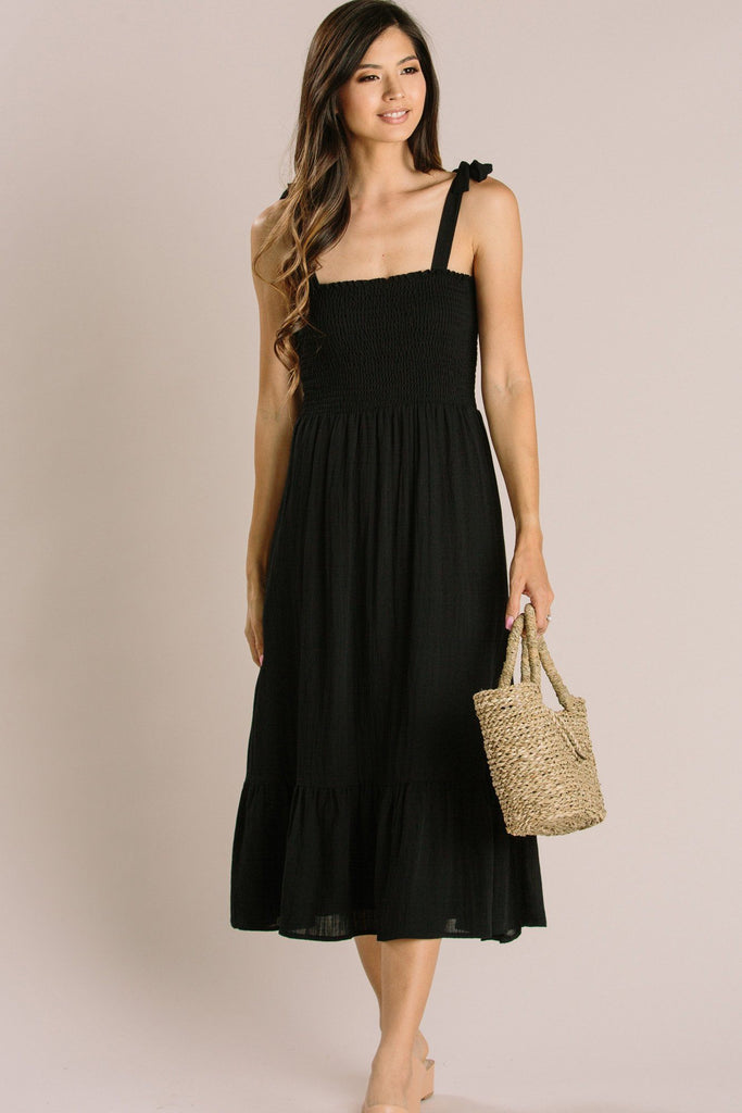 Peyton Tie Strap Smocked Midi Dress Dresses Everly Black X-Small