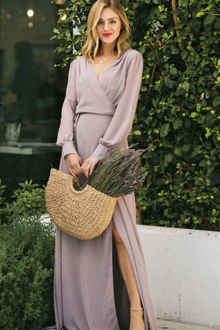 Chloe Long Sleeve Wrap Maxi Dress-Morning Lavender