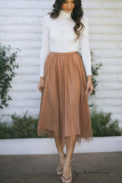 Alice Pleated Tulle Midi Skirt Skirts RIVIR Khaki Tan Small