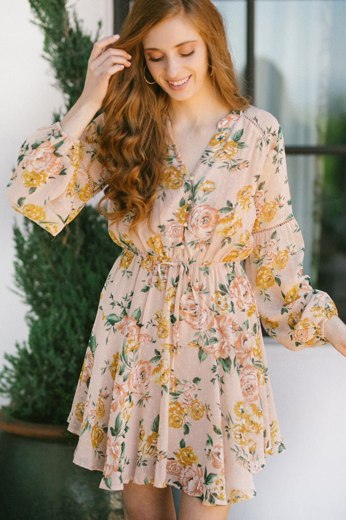 Rosemary Long Sleeve Floral Mini Dress Dresses Blu Pepper