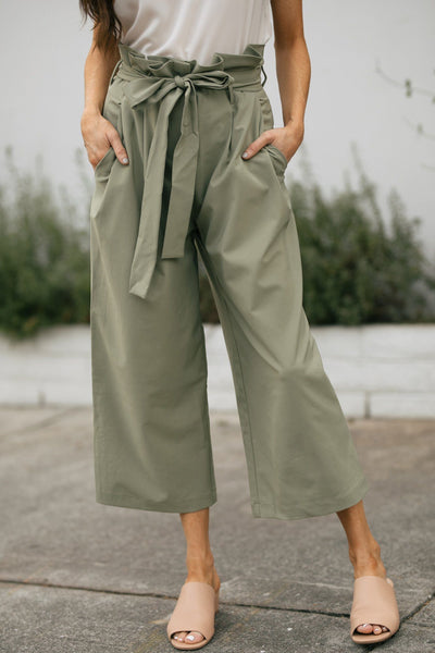 Eva Paperbag Waist Pants Pants Re:Named Sage Small