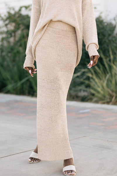Mira Side Slit Knit Skirt Skirts Wishlist Taupe Small/Medium