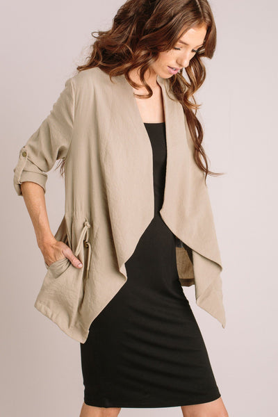 Hattie Drawstring Jacket Outerwear MILLIBON Taupe Small
