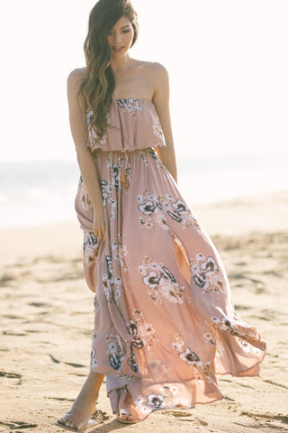 Jennie Blush Strapless Floral Maxi Dress Dresses Aakaa