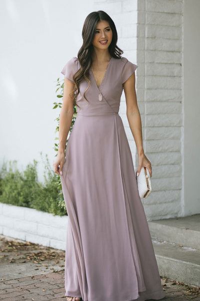Melody Short Sleeve Maxi Wrap Dress Dresses Soieblu Mauve Small
