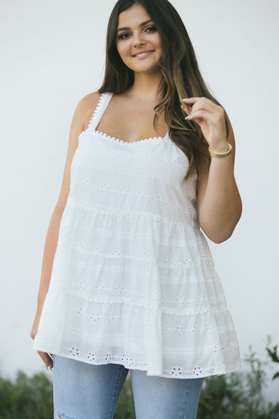 Curvy Sarah Eyelet Tiered Cami Tops Andree by Unit Ivory 1X
