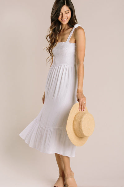 Peyton Tie Strap Smocked Midi Dress Dresses Everly Off White X-Small