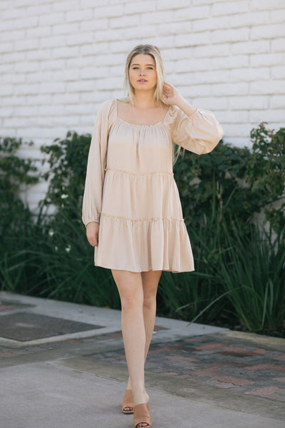 Kelly Long Sleeve Tiered Mini Dress Dresses Le Lis Taupe Small