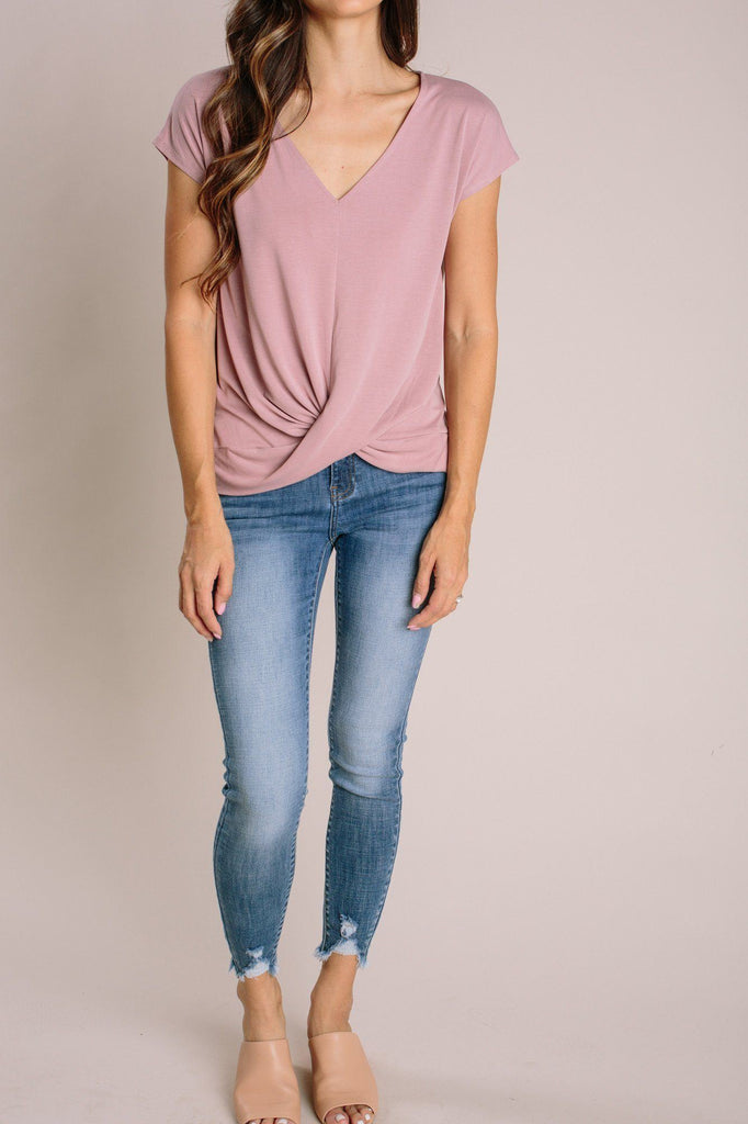 Laurel V-Neck Twist Front Top Tops Double Zero