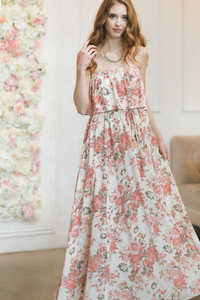 Amaya Floral Strapless Maxi Dress Dresses Aakaa Cream-Pink Small