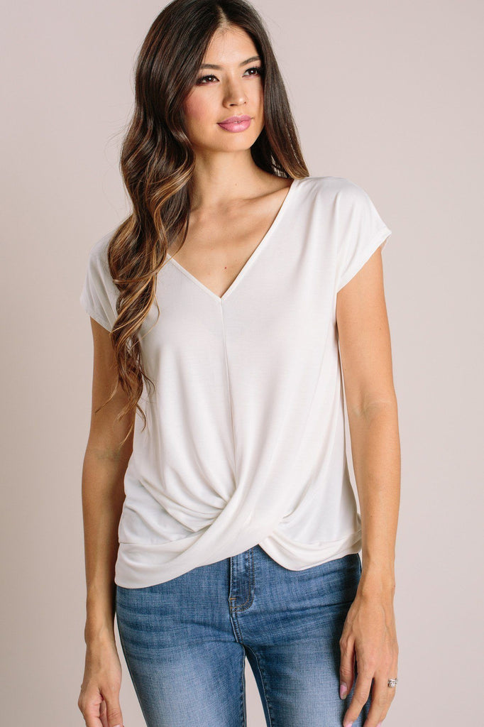 Laurel V-Neck Twist Front Top Tops Double Zero Ivory Small