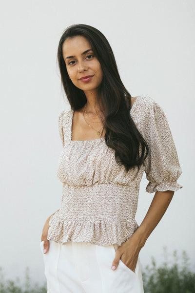 Miranda Floral Smocked Blouse Tops In Loom Creme Small