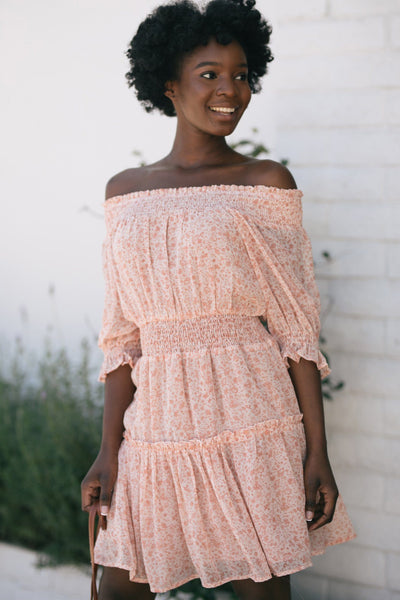Lauren Floral Off the Shoulder Smocked Dress Dresses Dress Forum Blush-Rust Small