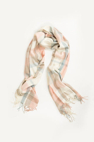 Alexis Peach and Cream Plaid Scarf