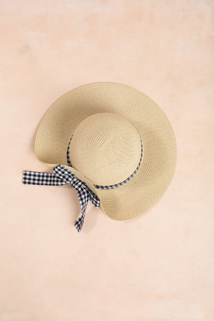 Krista Gingham Bow Straw Hat Hats Fame