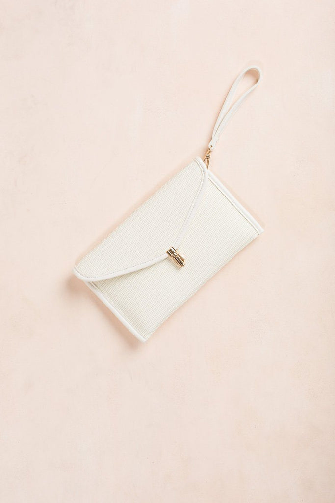 Agatha White Straw Clutch Handbags Joia White