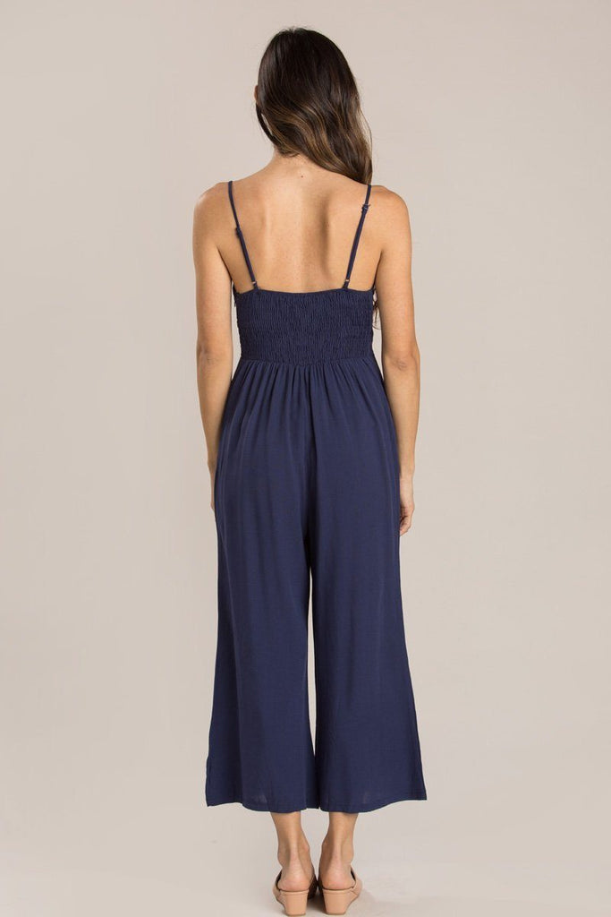 Deanna Navy Tie Front Jumpsuit Jumpsuits Everly