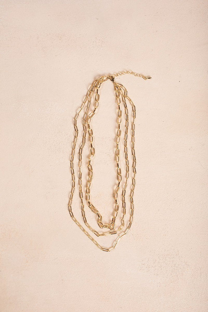 Penelope Gold Layered Chain Necklace Necklaces Fame Gold