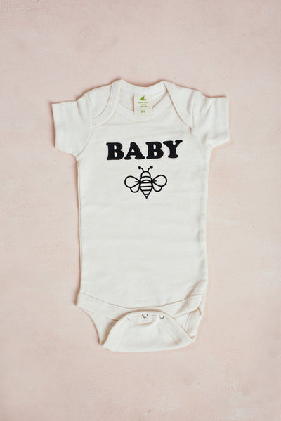 Baby Bee Organic Baby Bodysuit Kids Nature Supply Co Cream 3-6m