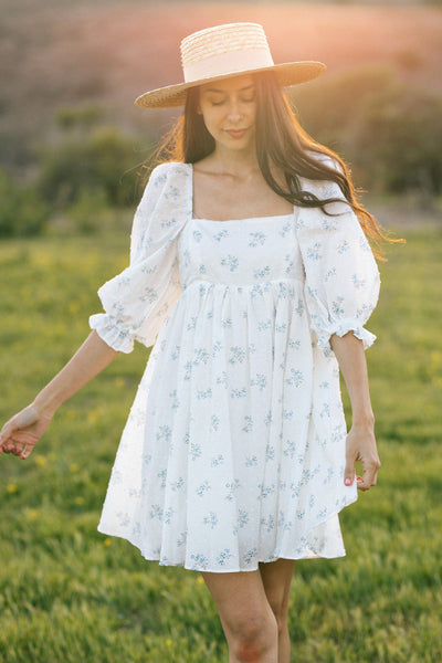 Mimi Floral Puff Sleeve Mini Dress Dresses Storia White-Blue Floral Small