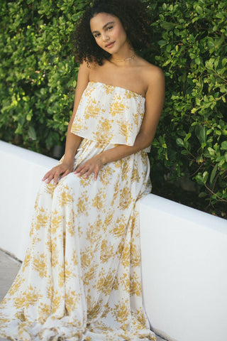 Hailey Floral Strapless Maxi Dress Dresses Aakaa