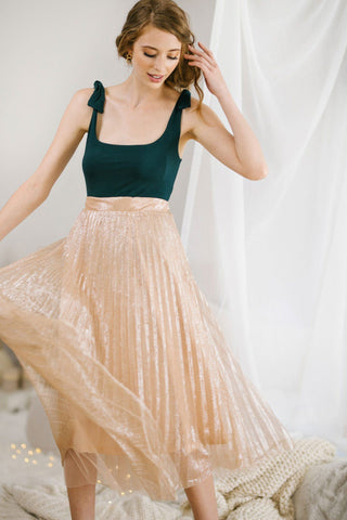 Addie Pleated Metallic Midi Skirt Skirts Ontwelfth
