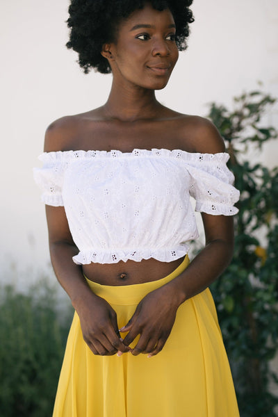 Maggie Off the Shoulder Eyelet Top Tops Style Melody White Small