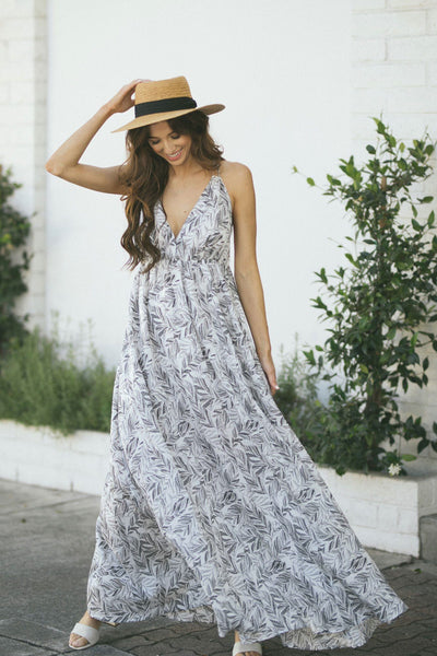 Felicity Strappy Printed Maxi Dress Dresses Aakaa Off White-Lt. Grey Small