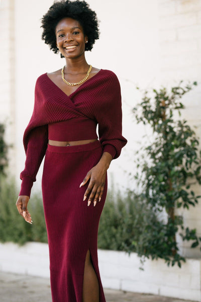 Isabella Ribbed Knit Midi Skirt Skirts She + Sky Wine Small