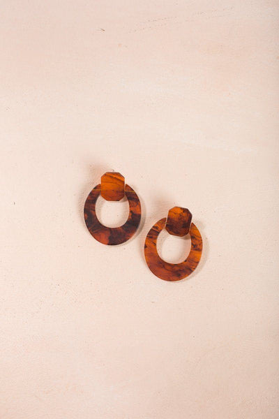 Dakota Geometric Statement Earrings Earrings Fame Brown Marble