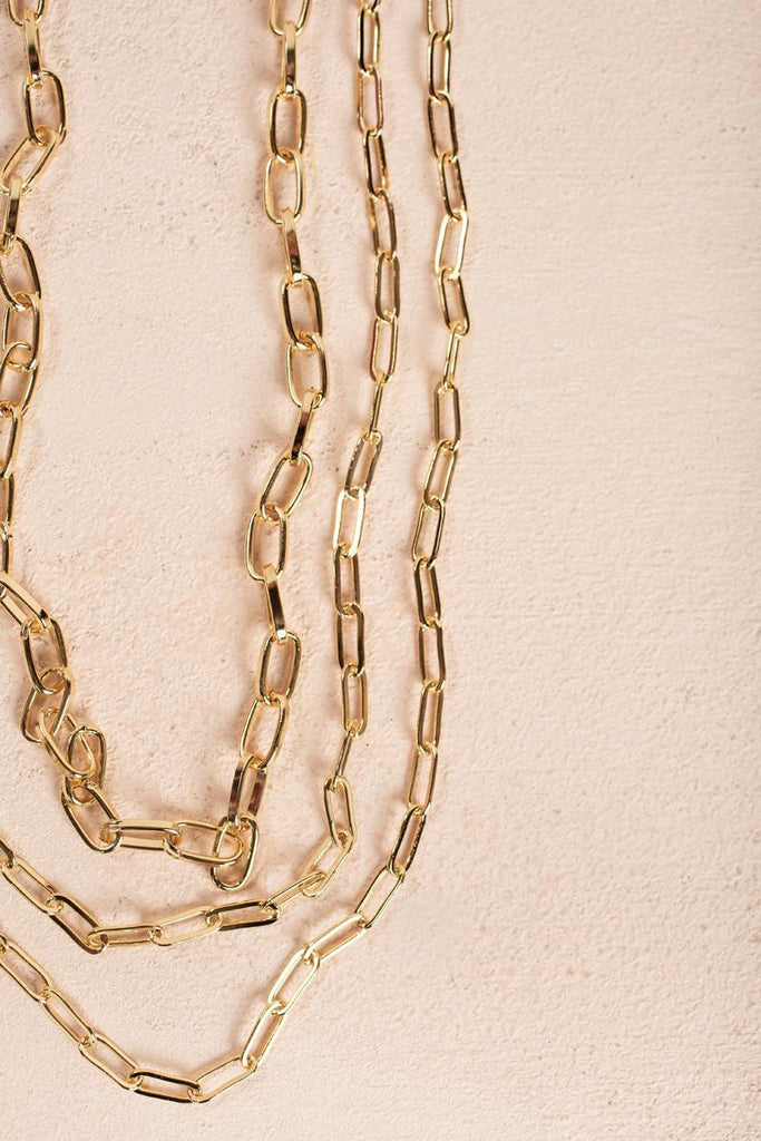 Penelope Gold Layered Chain Necklace Necklaces Fame