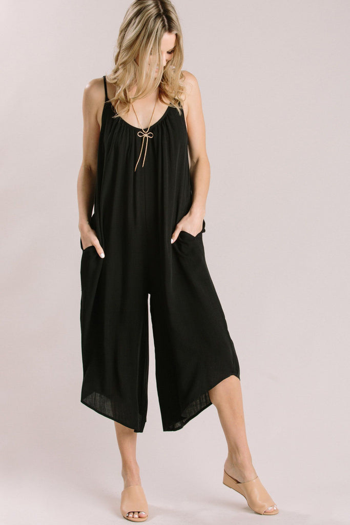 Jackie Black Loose Jumpsuit Jumpsuits Millibon Black Small