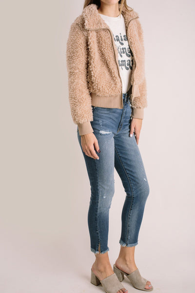 Suzanne Cropped Teddy Jacket Outerwear Newbury Kustom Taupe Small