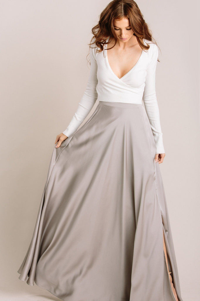 Rosalie Flowy Silver Maxi Skirt Skirts Lucy Paris Silver Small