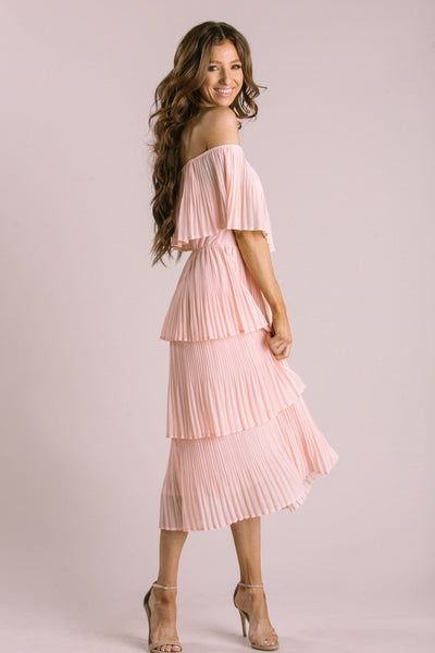 Vera Pleated Ruffle Dress Dresses JUST ME Blush Small