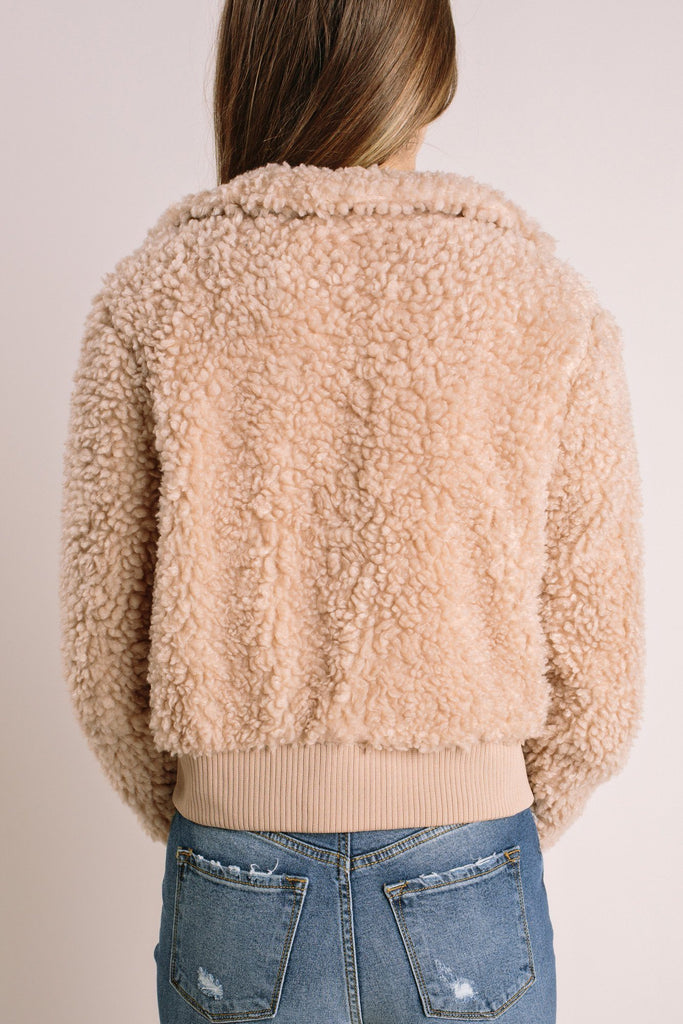 Suzanne Cropped Teddy Jacket-Morning Lavender