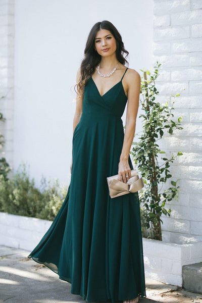 Magnolia Wrap Maxi Dress Dresses INA Hunter Green X-Small
