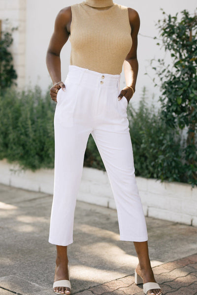 Sabina High Waist Cropped Pants Pants Le Lis White Small