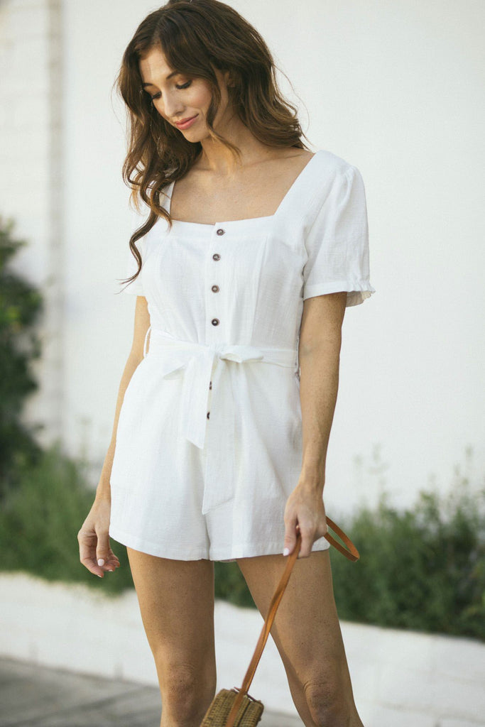 Jackie Square Neck Button Romper Rompers Lelis