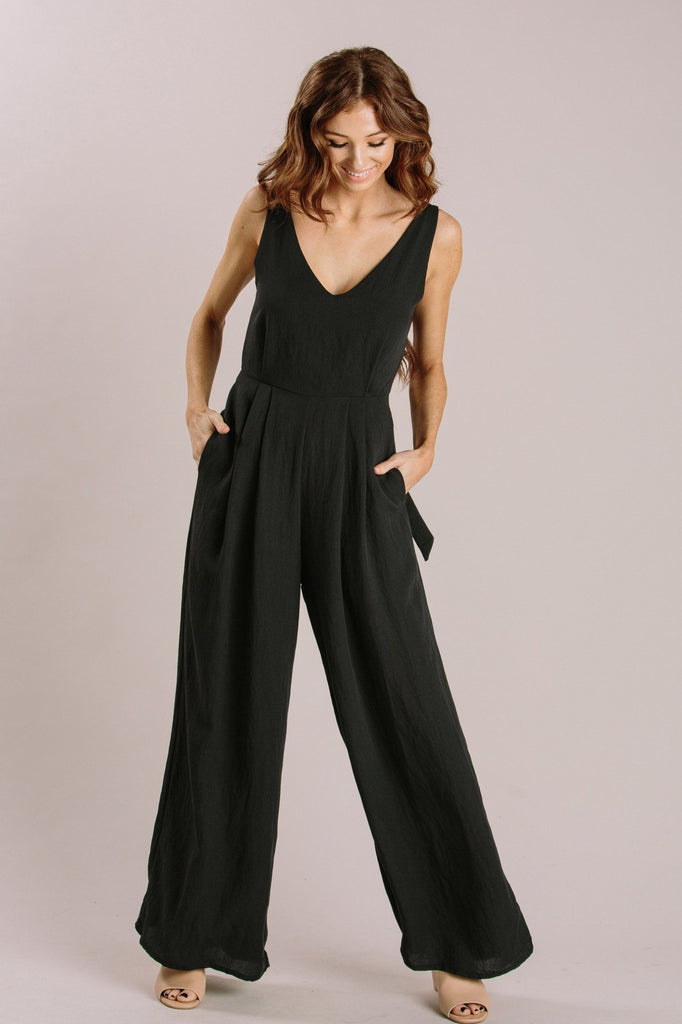 Abigail Tie Back Jumpsuit Jumpsuits Millibon Black Small