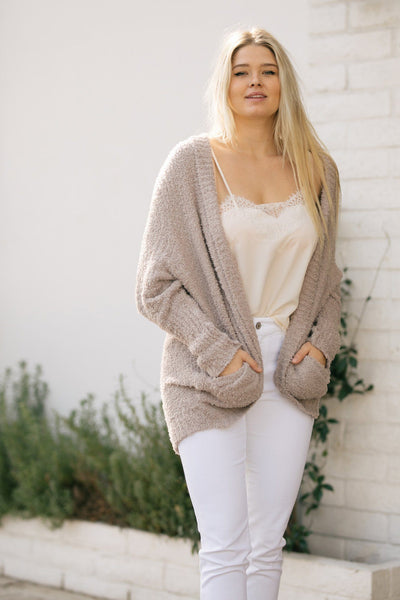 Ines Textured Cuffed Knit Cardigan Sweaters Lush Mocha Small