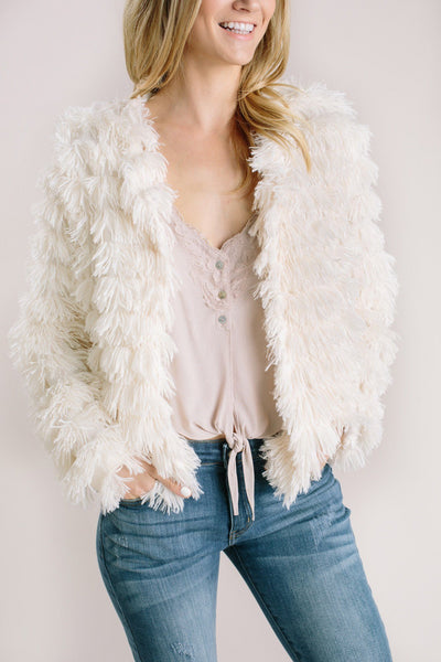 Elle Cream Faux Fur Layered Jacket Outerwear She + Sky Cream Small