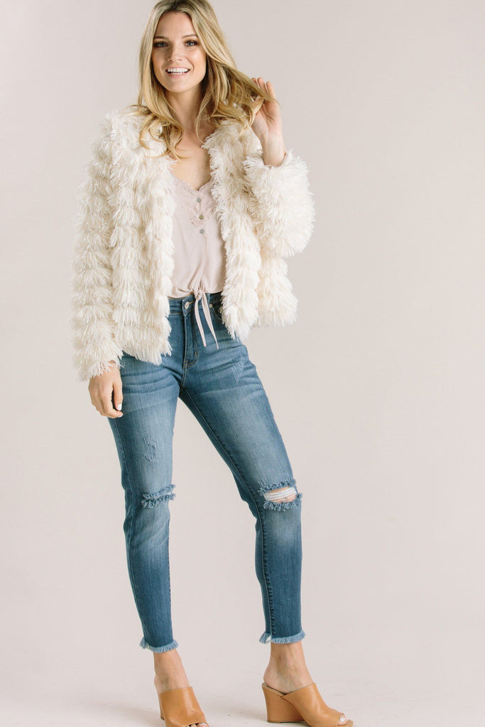 Elle Cream Faux Fur Layered Jacket Outerwear She + Sky