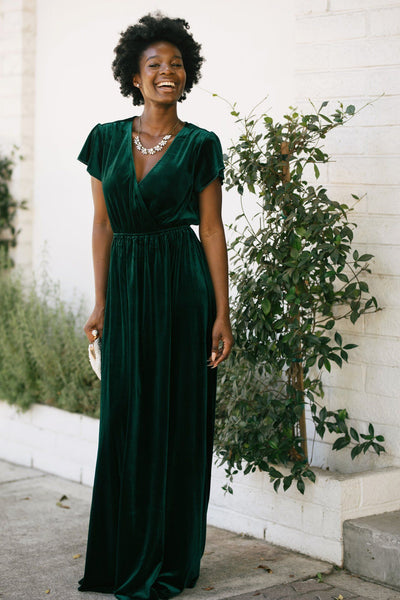 Vanessa Velvet Surplice Maxi Dress Dresses See and Be Seen Forest Green Small