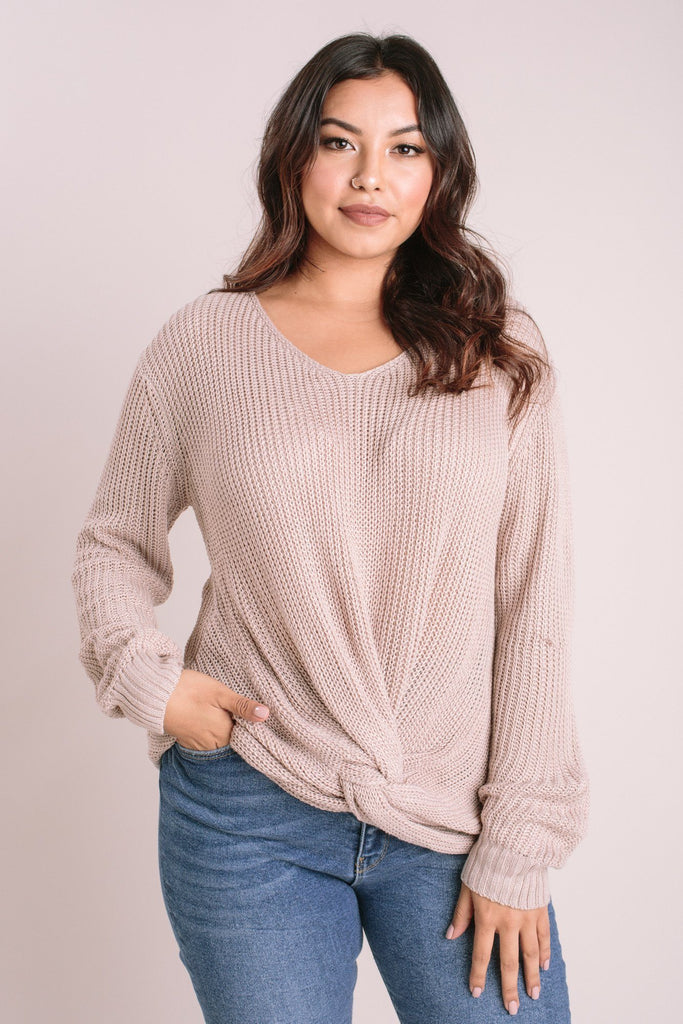 Sienna Knotted Knit Pullover Sweaters Dreamers Light Taupe Medium/Large
