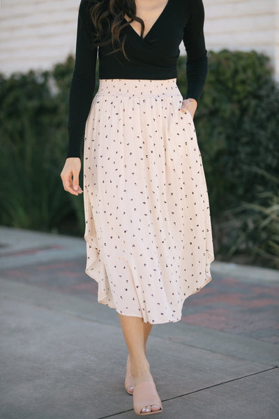 Kaitlyn Printed Round Hem Skirt Skirts Final Touch Natural Small