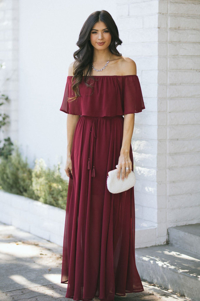 Alina Off the Shoulder Maxi Dress Dresses Aakaa Wine Small